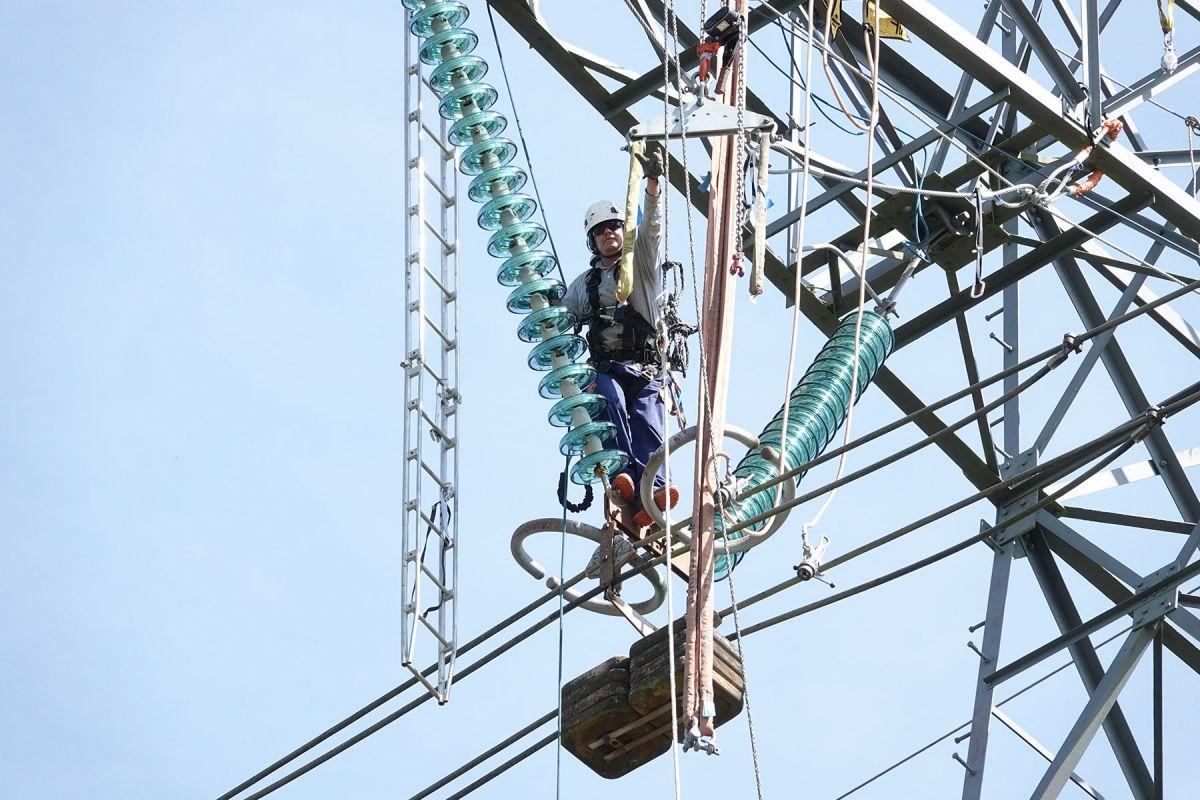 Imagen de la ejecución del proyecto de la línea doble de 400 kV en Francia