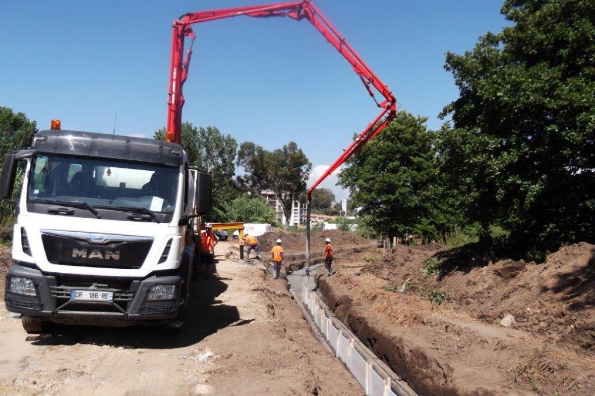 Imagen del desarollo de los trabajos de soterramiento de tres líneas eléctricas de 90 kV