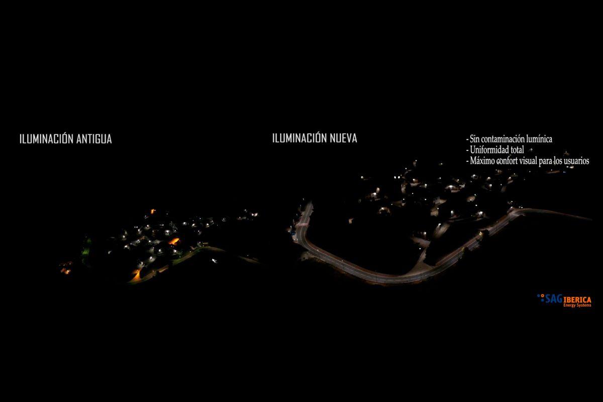 Imagen aérea, comparativa del nuevo alumbrado eficiente de Erro y del antiguo