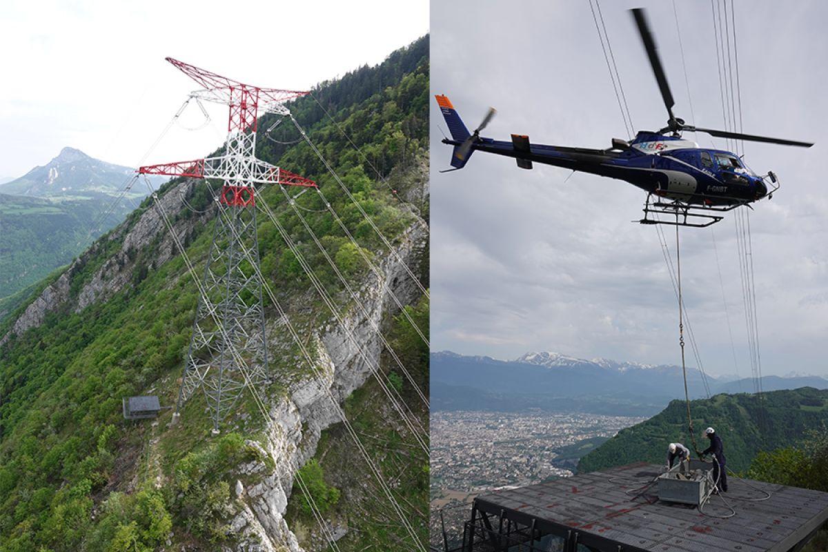 Helicoptero trabajando en el cambio de cadenas de línea de 400 kW